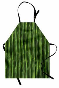 Yeşil Bambu Desenli Mutfak Önlüğü Şık Dekoratif