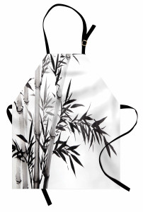 Siyah Beyaz Bambu Mutfak Önlüğü Şık