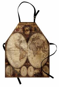 Antik Dünya Haritası Mutfak Önlüğü Dekoratif