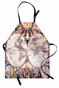 Antik Dünya Haritası Mutfak Önlüğü Şık Dizayn