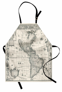 Antik Amerika Haritası Mutfak Önlüğü Şık