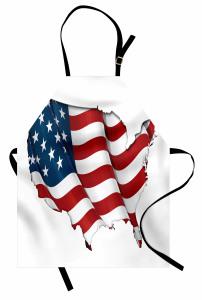 ABD Bayrağı Desenli Mutfak Önlüğü ABD Şekilli