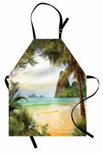 Doğal Bir Cennet Mutfak Önlüğü Kumsalda Dalgalar