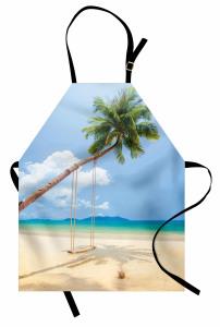 Issız Ada Mutfak Önlüğü Tropikal Egzotik Mavi