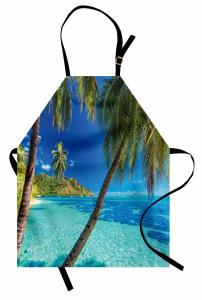 Tropik Adadaki Palmiye Mutfak Önlüğü Palmiye Mavi Yeşil