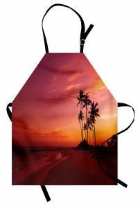 Tropik Adada Gün Batımı Mutfak Önlüğü Okyanus