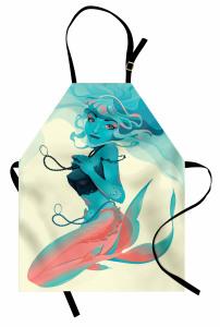 Kolyeli Deniz Kızı Mutfak Önlüğü Mavi Pembe
