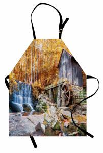 Köprü ve Çağlayan Mutfak Önlüğü Su Değirmeni Şelale Yeşil