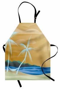 Palmiye ve Kumsal Mutfak Önlüğü Modern