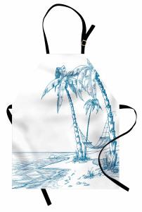 Palmiye ve Sahil Mutfak Önlüğü Mavi