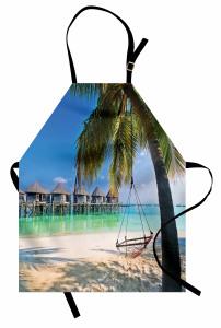 Deniz ve Palmiye Temalı Mutfak Önlüğü Egzotik