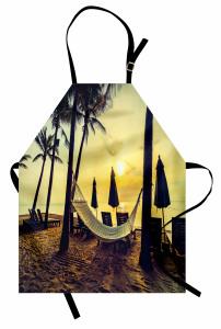 Plaj ve Hamak Desenli Mutfak Önlüğü Palmiyeli