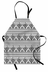 Etmik Kilim Desenli Mutfak Önlüğü Siyah Beyaz