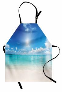 Okyanus Kenarı Mutfak Önlüğü Okyanus Kenarı Bulutlar Kumsal