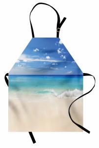 Kumsala Vuran Dalgalar Mutfak Önlüğü Kumsalda Dalgalar Okyanus Beyaz