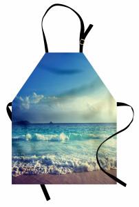 Dalgalı Deniz Desenli Mutfak Önlüğü Turkuaz