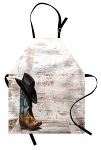 Kovboy Şapkası Çizmesi Mutfak Önlüğü Nostaljik Kovboy Rodeo