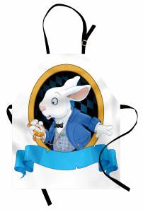 Tavşan Desenli Mutfak Önlüğü Çocuklar İçin Mavi
