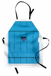 Mavi Ahşap Panjur Mutfak Önlüğü Kalpli