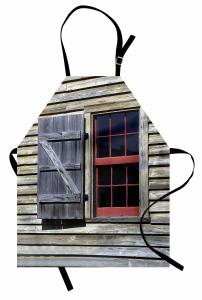 Antik Ahşap Pencereli Mutfak Önlüğü Kahverengi