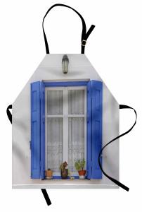 Mavi Pencere Temalı Mutfak Önlüğü Çiçekli Ahşap