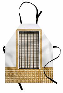 Pencere Temalı Mutfak Önlüğü Beyaz Panjur Duvar