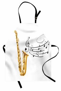 Müzik Temalı Mutfak Önlüğü Nota Saksafon Beyaz