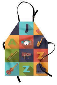 Poster Desenli Mutfak Önlüğü Müzik Temalı Caz