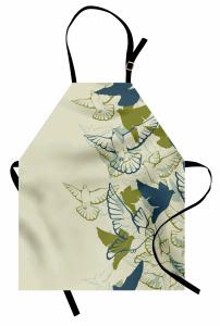 Yeşil Kuş Desenli Mutfak Önlüğü Şık Tasarım