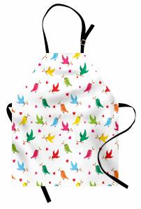 Kalp ve Kuş Desenli Mutfak Önlüğü Rengarenk Şık