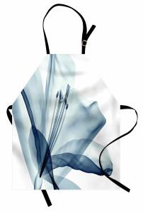 Şık Mavi Çiçek Desenli Mutfak Önlüğü 3D Etkili