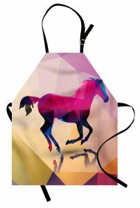 At ve Yansıması Desenli Mutfak Önlüğü Rengarenk