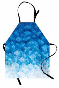 Mavi Geometrik Desenli Mutfak Önlüğü Şık Model