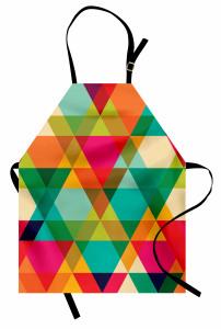 Rengarenk Üçgen Desenli Mutfak Önlüğü Geometrik