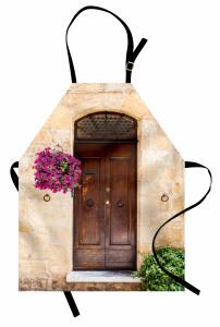 Kapı ve Mor Çiçek Mutfak Önlüğü Nostaljik