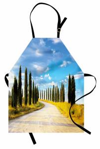 Ağaçlı Yol ve Gökyüzü Mutfak Önlüğü Şık