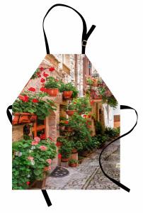 Taş Ev ve Çiçek Temalı Mutfak Önlüğü Nostaljik