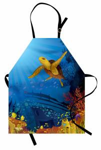 Gemi ve Kaplumbağa Mutfak Önlüğü Deniz