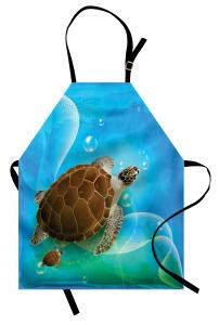 Deniz Kaplumbağası Mutfak Önlüğü Mavi