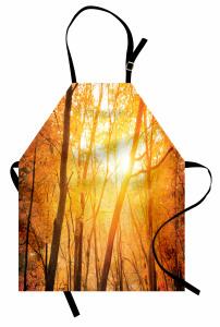 Güneşli Orman Mutfak Önlüğü Turuncu Sarı Ağaç