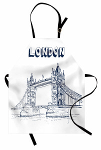 Nostaljik Köprü Desenli Mutfak Önlüğü Londra