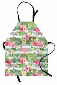 Flamingo Tropikal Çiçek Mutfak Önlüğü Flamingo ve Tropikal Çiçekler