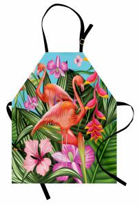 Çiçekler ve Flamingo Mutfak Önlüğü Flamingolar Rengarenk Çiçekler
