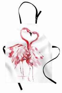 Flamingoların Aşkı Mutfak Önlüğü Romantik Kırmızı