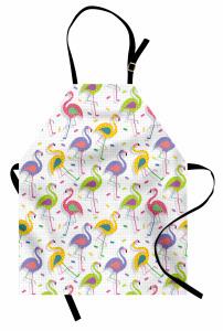 Rengarenk Flamingolar Mutfak Önlüğü Yeşil Sarı
