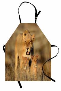 Aslan ve Yavruları Mutfak Önlüğü Afrika