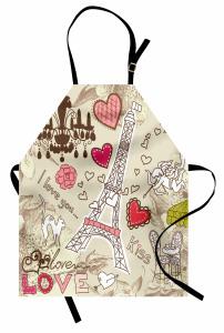 Eyfel'de Aşk Mutfak Önlüğü Eyfel Bej Pembe