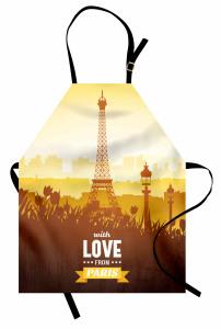 Eyfel Desenli Mutfak Önlüğü Eyfel Kulesi Sarı