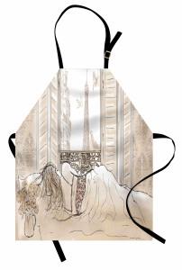 Manzaralı Ev Mutfak Önlüğü Bej