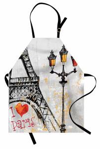 Paris Işıkları Mutfak Önlüğü Eyfel Kulesi Gri Sarı